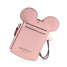 KANDRA New Fashion Style Mickey Ear Business Card Holder Women Cute PU Leather Mouse Wallet Zipper Coin Purses Wholesale 2019