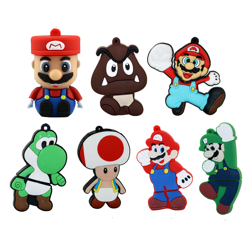 Karikaturë Super Mario USB flash drive stilolaps drive 4G 8GB 16GB 32 GB 32 GB 64 GB Flash Memory kapacitet real pendriveStick stilolaps