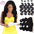 Lucky Queen Hair Products 8A Brazilian Vigin Hair Body Wave 4 Bundles with Frontal Closure Lace Frontal Closure with 4 Bundles