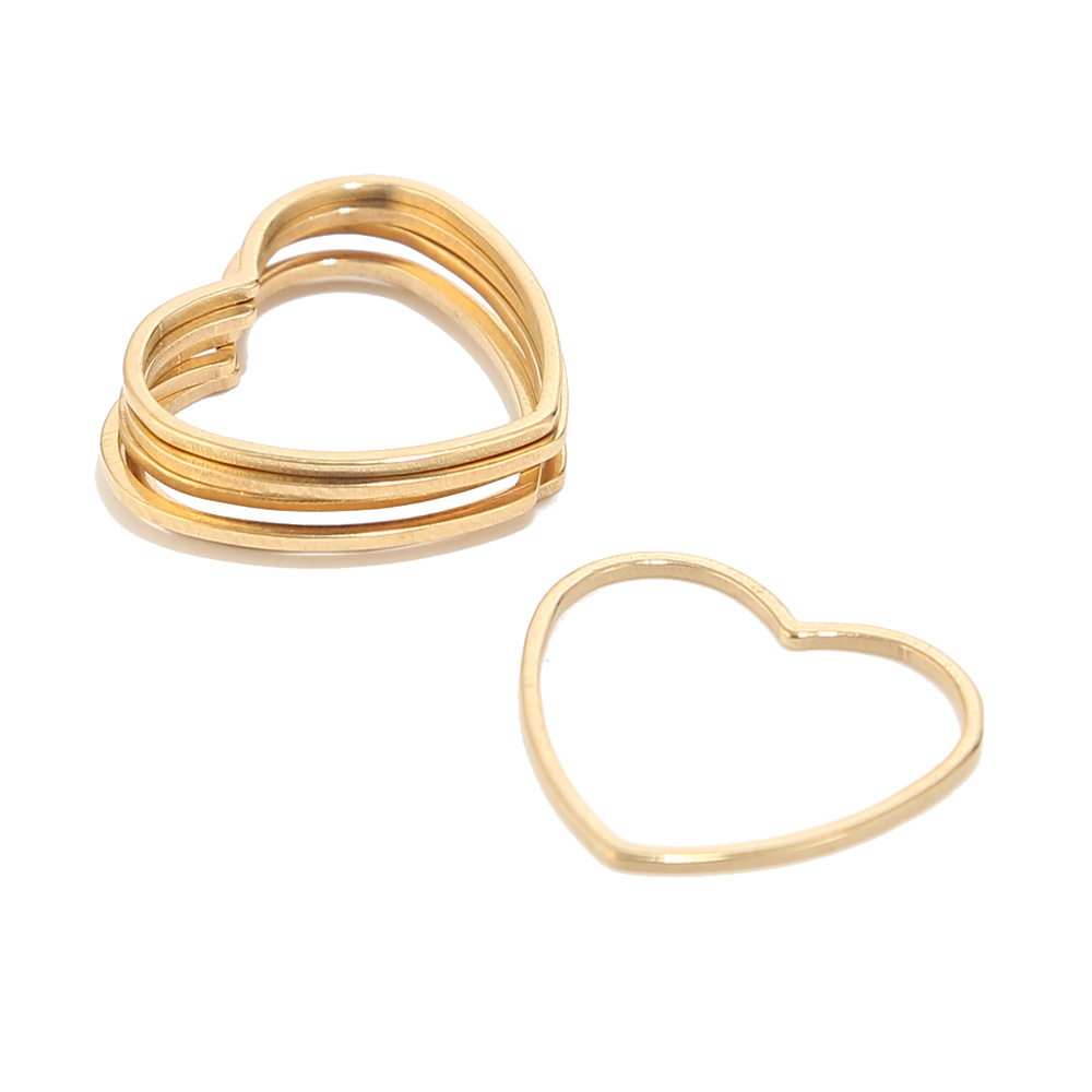 100pcs Brass Hollow Linking Rings Geometry Charms Pendants Gold Tone Connectors