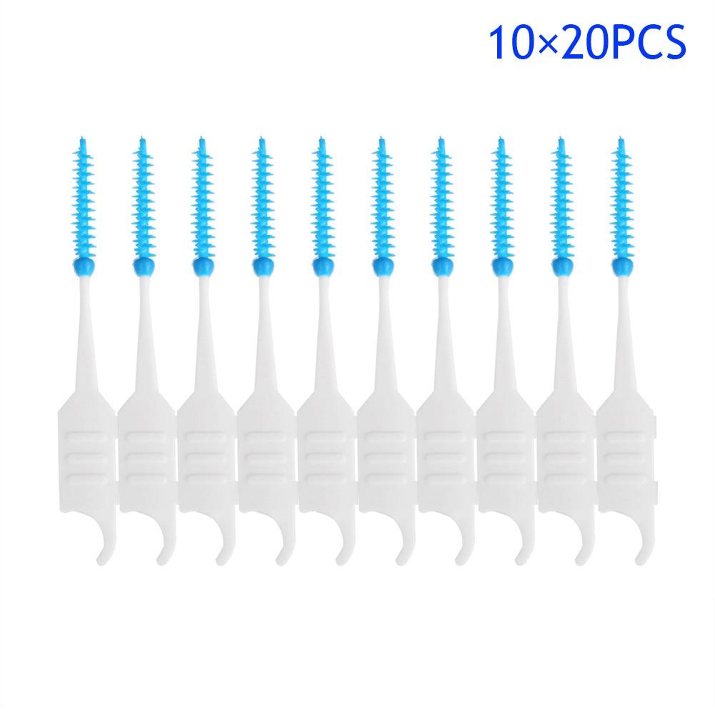 2017 200pcs / Box קיסמים פלסטיק סיליקון חוט דנטלי שיניים מברשת סטיק מברשת חד פעמיות טיפול שיניים הפה כלי ניקוי Interdental