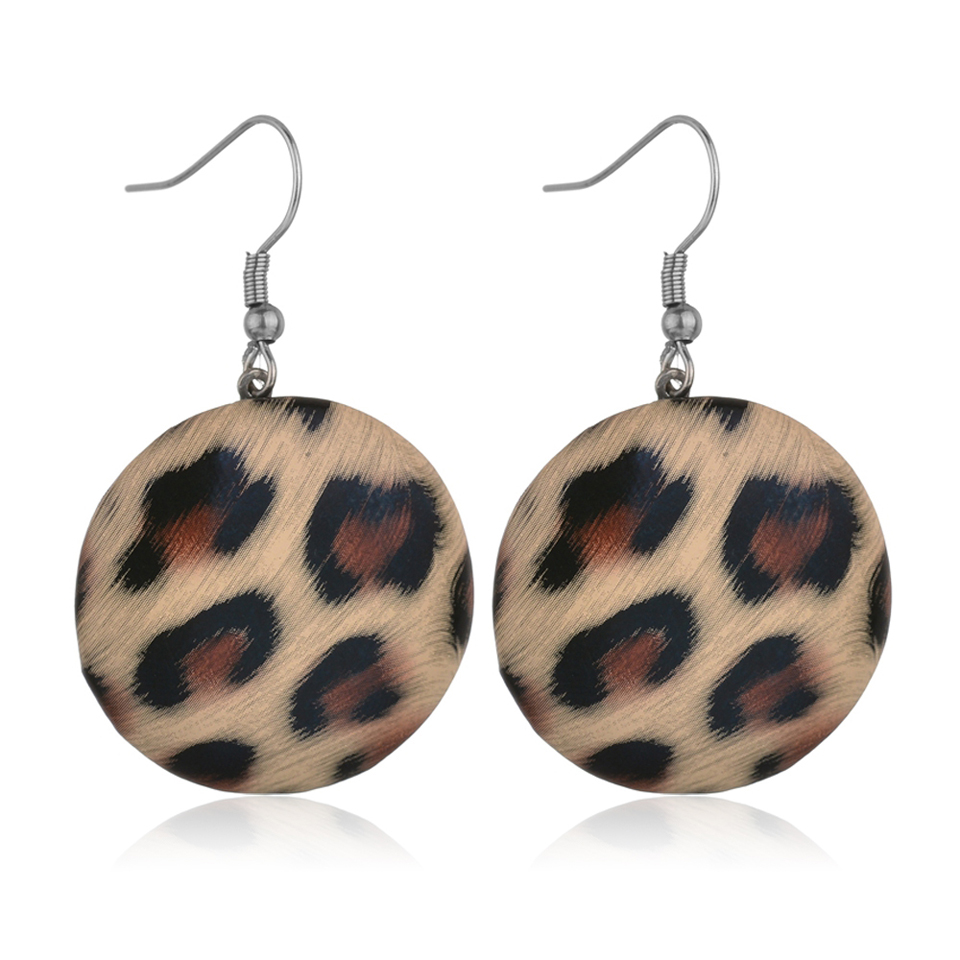Big Round Button Shape Snake Leopard Leather Dangle Earrings For Women 3d Drop Earrings Camouflage Color Statement Dangle Earing Jewelry & Accessories Earrings