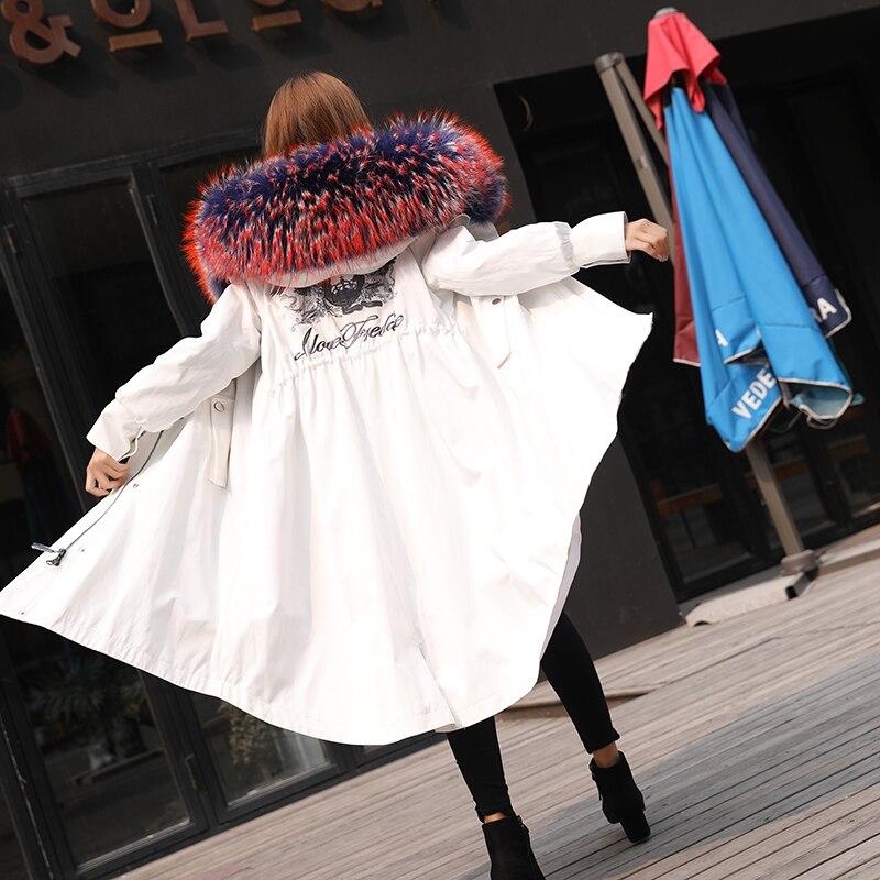 Manteau Partie Amovible red Nouvelle De Pour khaki Section Laveur Raton black La Remédier Collier White À Fourrure Vison Broderie Longue rHfIqfxY