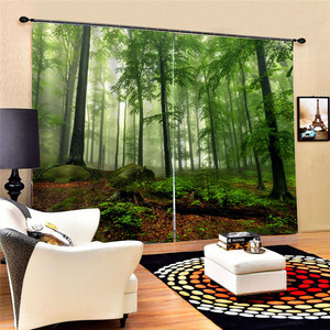 Image 5 - Bookcase Living Room Digital Print 3D Blackout Curtains Watercolor for Bedroom Decor Window Treatment Polyester Decoration Oct29
