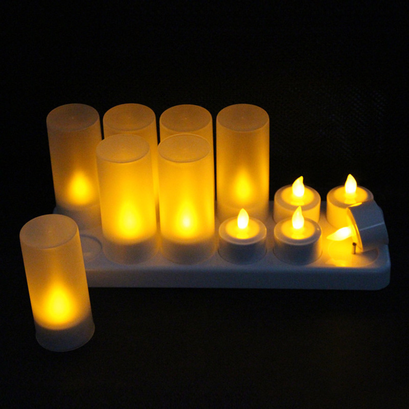 New 12Pcs Rechargeable LED Flameless Candle Light Long Lasting for Restaurants Home Party Decor XOA88New 12Pcs Rechargeable LED Flameless Candle Light Long Lasting for Restaurants Home Party Decor XOA88