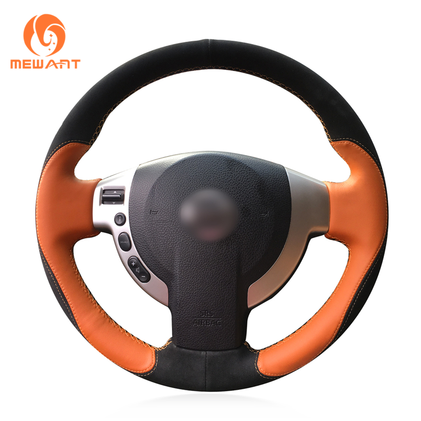 MEWANT Leather Black Suede Steering Wheel Cover for Nissan Qashqai 2007-2013 Rogue 2008-2013 X-Trail 2008-2013 NV200 2010-2016 artificial leather car steering wheel braid for nissan teana altima 2013 2016 x trail qashqai rogue custom made steering cover
