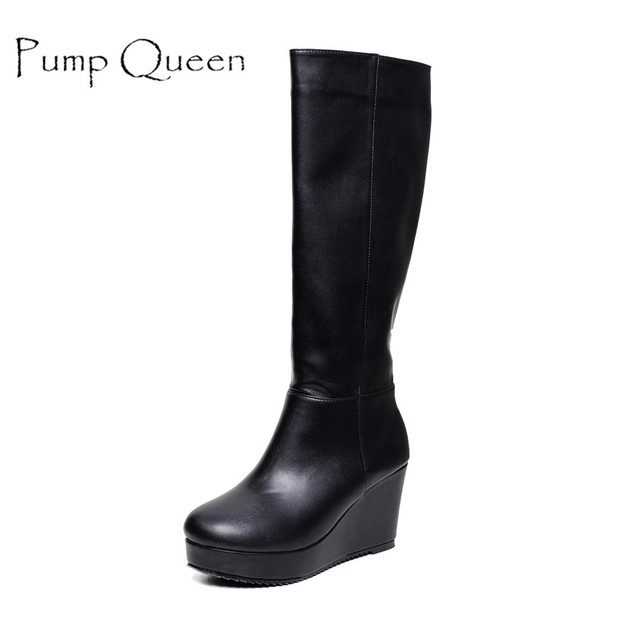 2db629a5d12 Winter Black Boots Women Fashion Platform Wedge Heels Brand Microfiber  Leather Knee High Long Boots Shoes Woman Zip Warm Plush