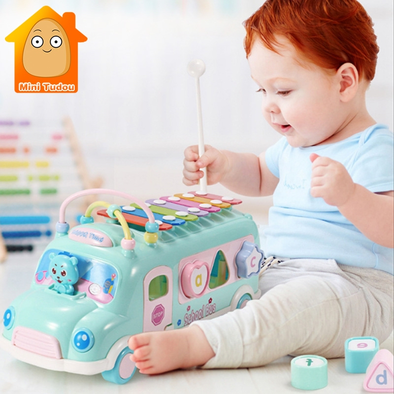 New Kids Music Bus Toys Instrument Xylophone Piano Lovely Beads Blocks Sorting Learning Educational Baby Toys For Children baby toys