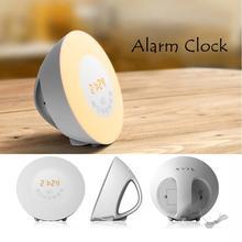 LED Sunrise Wakeup 7 Colors Lamp Warm White Light RGB Round Alarm Clock FM Digital Radio US UK EU Plug Fall Sleep Night Light
