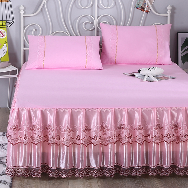 Pink Rufflers Korean Lace Bed Skirt Mattress Cover Bed Set Elastic Bed Cover Bed Sheets Pillowcase Multiple Sizes Available #sw