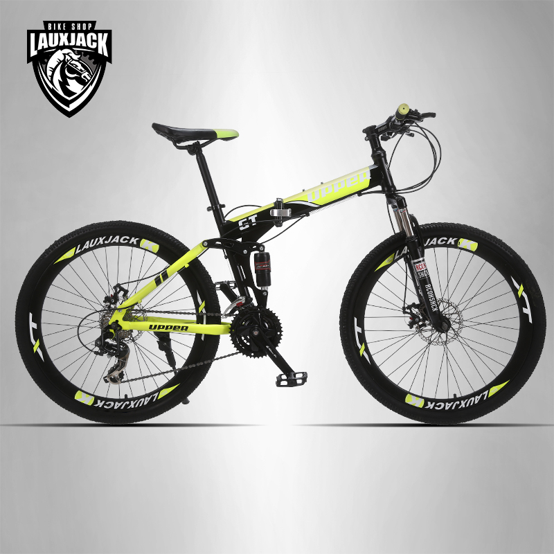UPPER Mountain bike full suspension system steel folding frame 24 speed Shimano disc brakesUPPER Mountain bike full suspension system steel folding frame 24 speed Shimano disc brakes