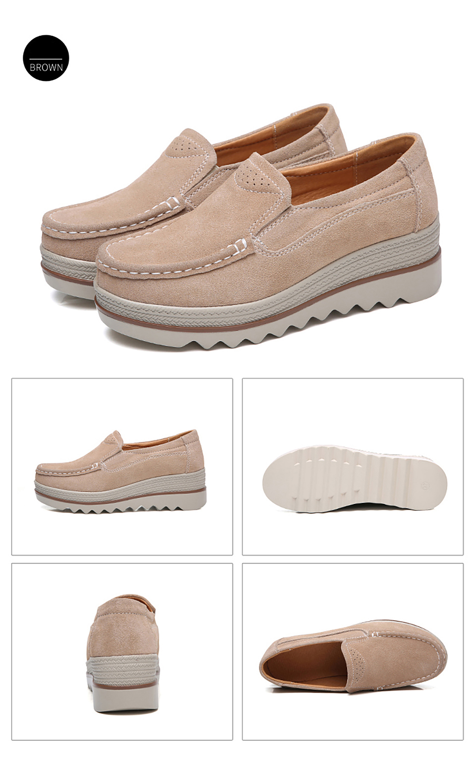 HTB1hkNROjTpK1RjSZKPq6y3UpXac 2019 Spring Women Flats Shoes Platform Sneakers Slip On Flats Leather Suede Ladies Loafers Moccasins Casual Shoes Women Creepers