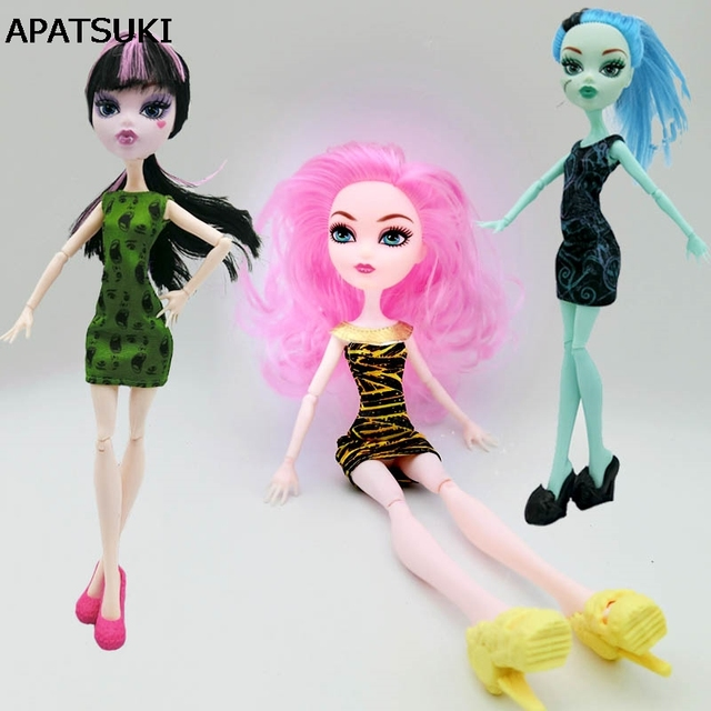 3 unids/lote Moda Ropa Para Monster High Dolls Dress Summer Party ...
