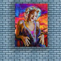 Marilyn Monroe oil painting, American celebrity wall art posters, Hand Painted. Canvas.Beautiful sexy women Oil Painting Abstra