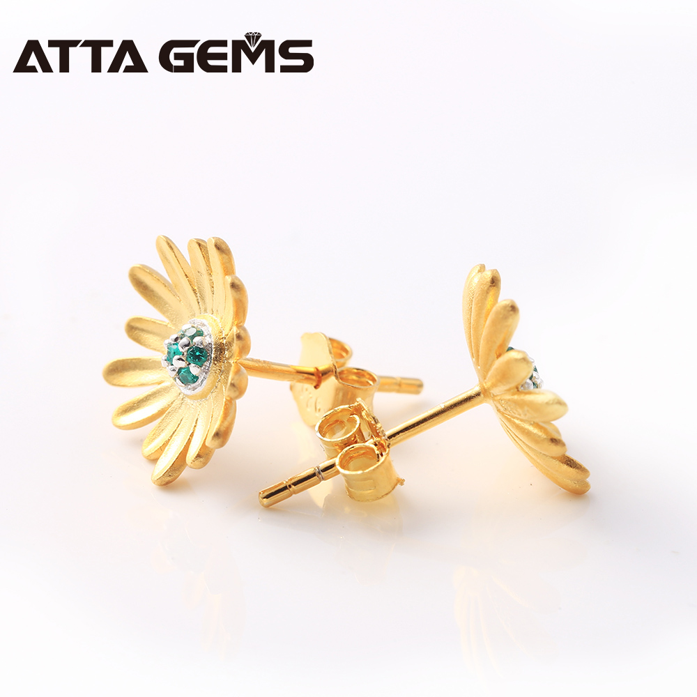 Emerald Created Sterling Silver Earrings Flower Design Gold Plated For Lady Lovely Summer Jewelry S925 Design for Women Gifts