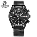 Men's Quartz-Watch Stainless Steel Mesh Band Black Sports Watch Male OCHSTIN Chronograph Mens Watch Top Brand Relogio Masculino