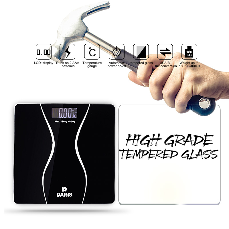SDARISB Bathroom Scale Body Smart Electric Digital Health Balance Body Weight Scale Toughened Glass LCD Display 180kg/50g
