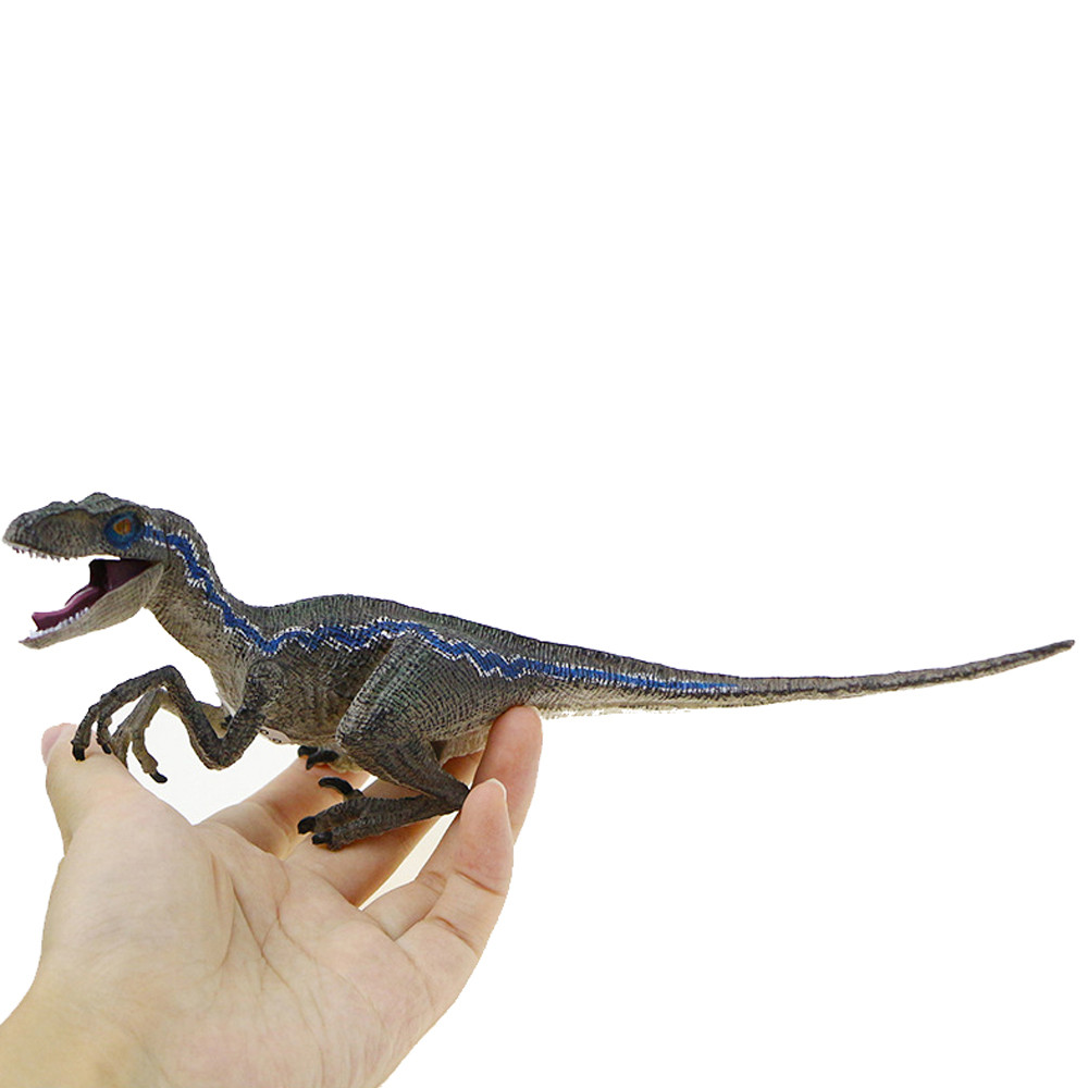 Small Blue Velociraptor Dinosaur Figure Animal Model Toys Collector Decor Gift