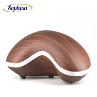 Sophisa 150ml Cashew Shape Aroma Diffuser Oil Wood Grain Ultrasonic Aromatherapy Humidifier Led Lights Business Gift