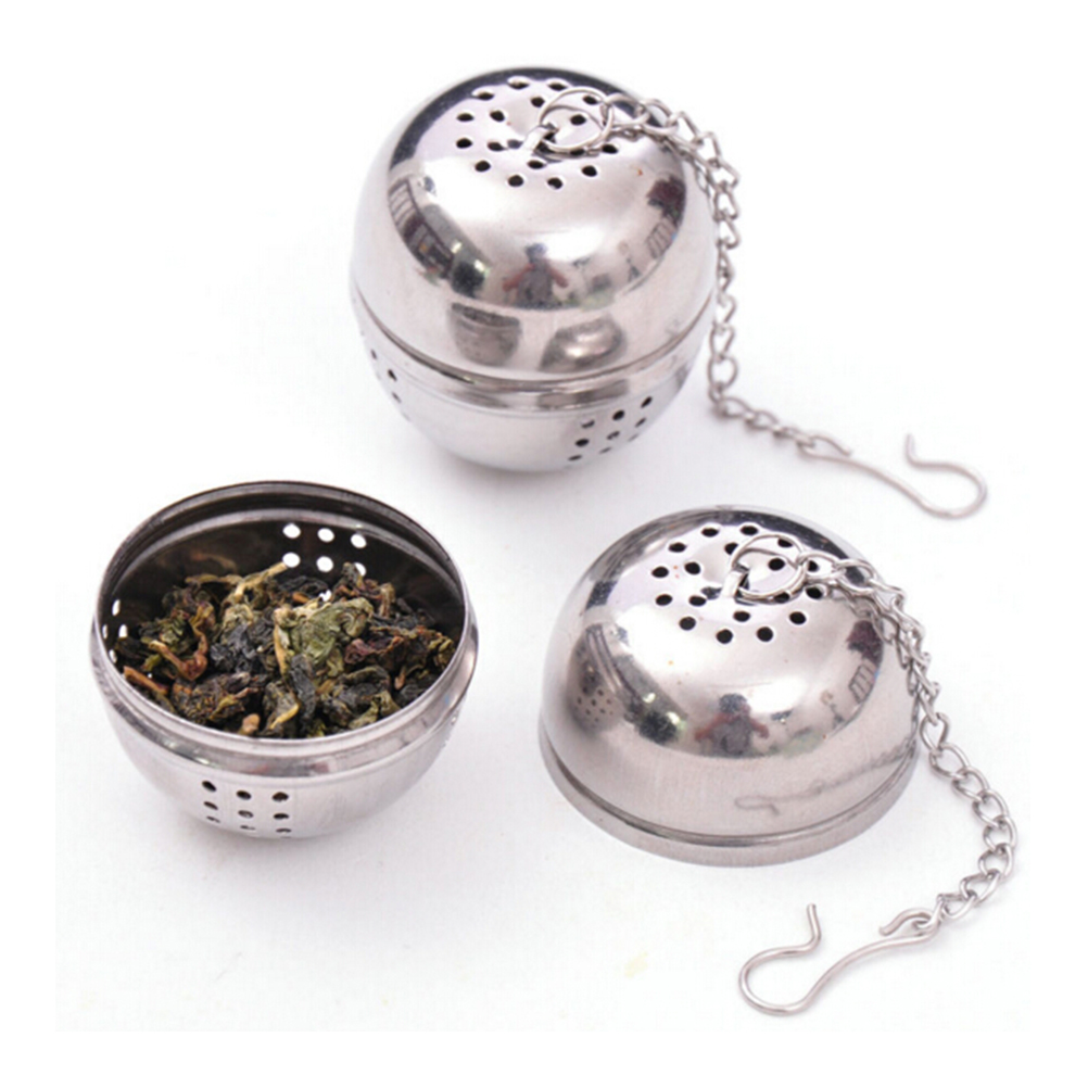 1PCS Silver Fashion Kichen Stainless Steel Sphere Locking Spice Tea Ball Strainer Mesh Infuser Filter