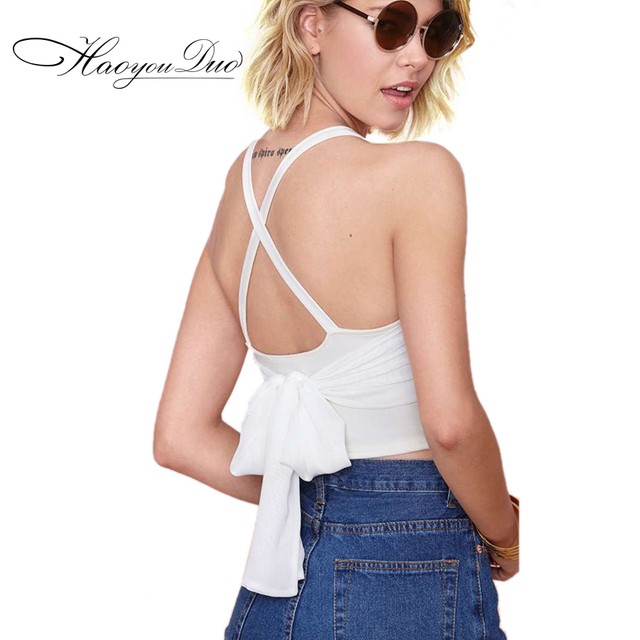 2016 Summer New back bow Cross Strap design Sexy Crop Top for women white blusa crop tops bustier crop top cropped feminino