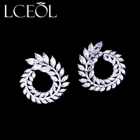 LCEOL Luxurious Earring Double C Stud Earrings Open Oval Water Drop Paved TOP Cubic Zirconia White