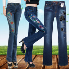Autumn and winter trend women's national embroidery flower bell-bottom jeans plus size slim  trousers elastic