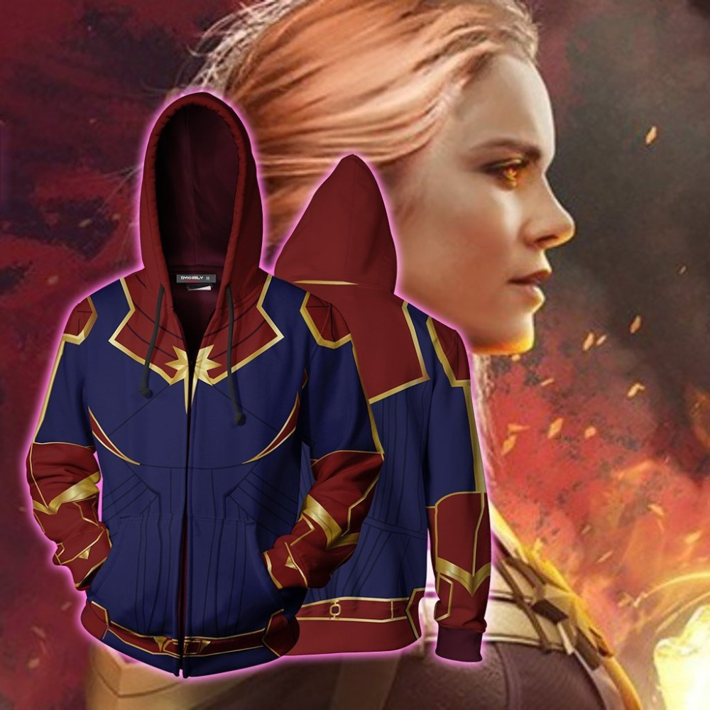 Free shipping woman and man's Captain Marvel Costumes Ms. Marvel 3D Printed Sweatshirt cardigan zipper Hoodie Cosplay JQ-2645