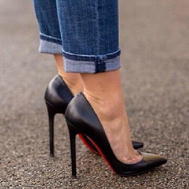 acheter pas cher 7330e 3127f € 33.7  Us 3 à 14 grande taille semelle rouge talons hauts chaussures noir  mat en cuir bouche peu profonde fin et pointu chaussures à talons femmes ...