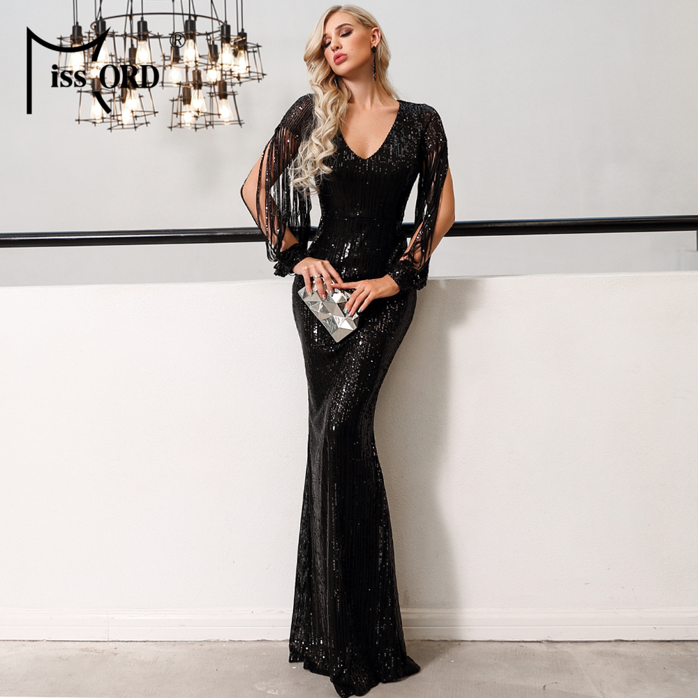 Missord 2019 Sexy V Neck Long Sleeve Sequin Dresses Bodycon  Dress Elegant Maxi Party Dress  FT20032-1