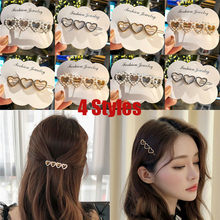 Women Girls Bling Hairpin Headwear Crystal Rhinestone Heart Hair Clip Headdress Pearl Hair Slide Grips Barrette Hair Accessories(China)