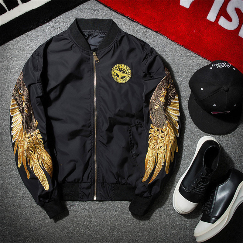 2017 Spring Thin Mens Fashion MA1 Bomber Jacket High Quality Male Black Wind Embroidery MA-1 Casual Bomber Jackets Coats M-2XL