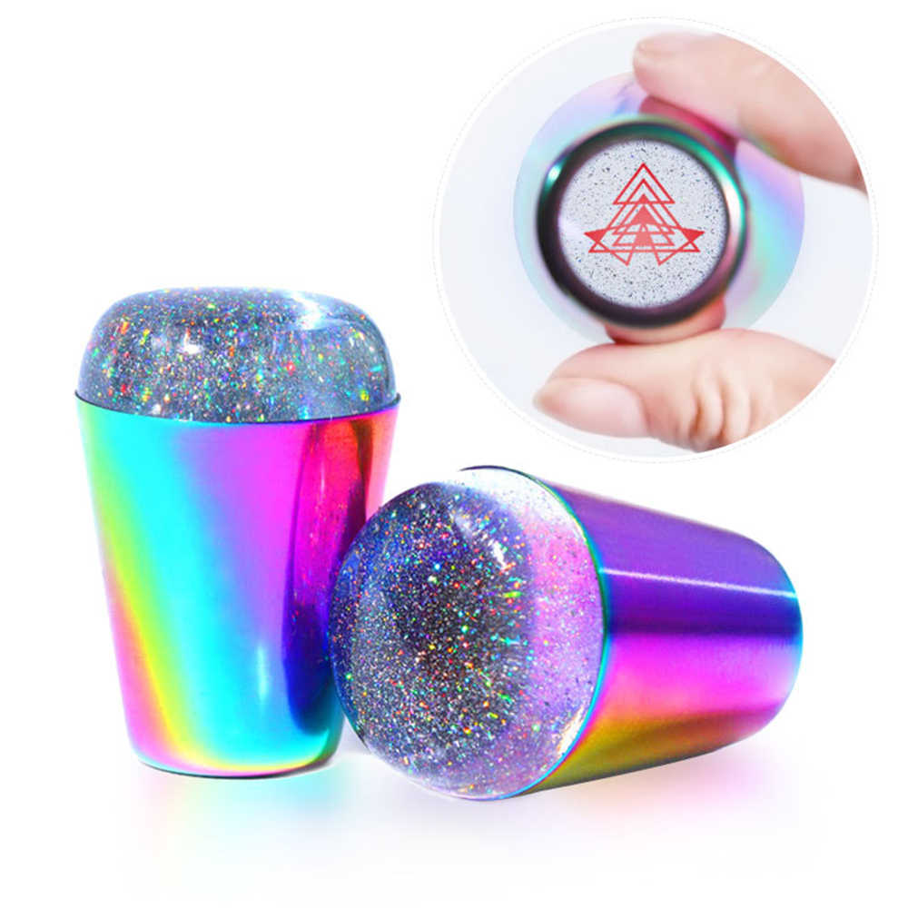 Colorful Handle Nail Stamper Shining Holographic Head Clear Silicone Stamper for Nail Art Stamping Plate Dropshipping