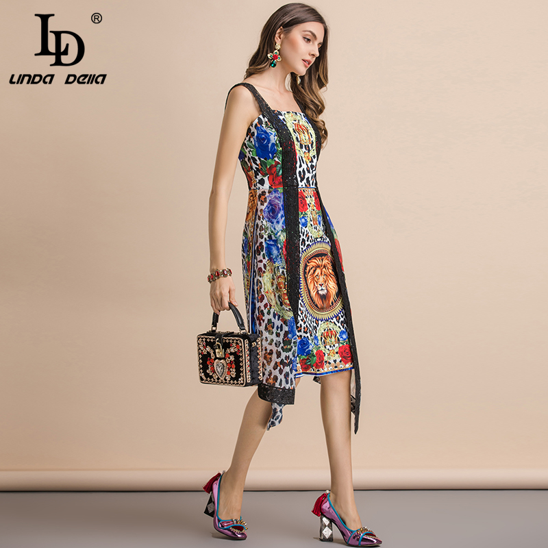 LD LINDA DELLA Fashion Runway Summer Sexy Lace Spaghetti Strap Dress Women 39 s Backless Animal Print Splice Asymmetrical Dress in Dresses from Women 39 s Clothing