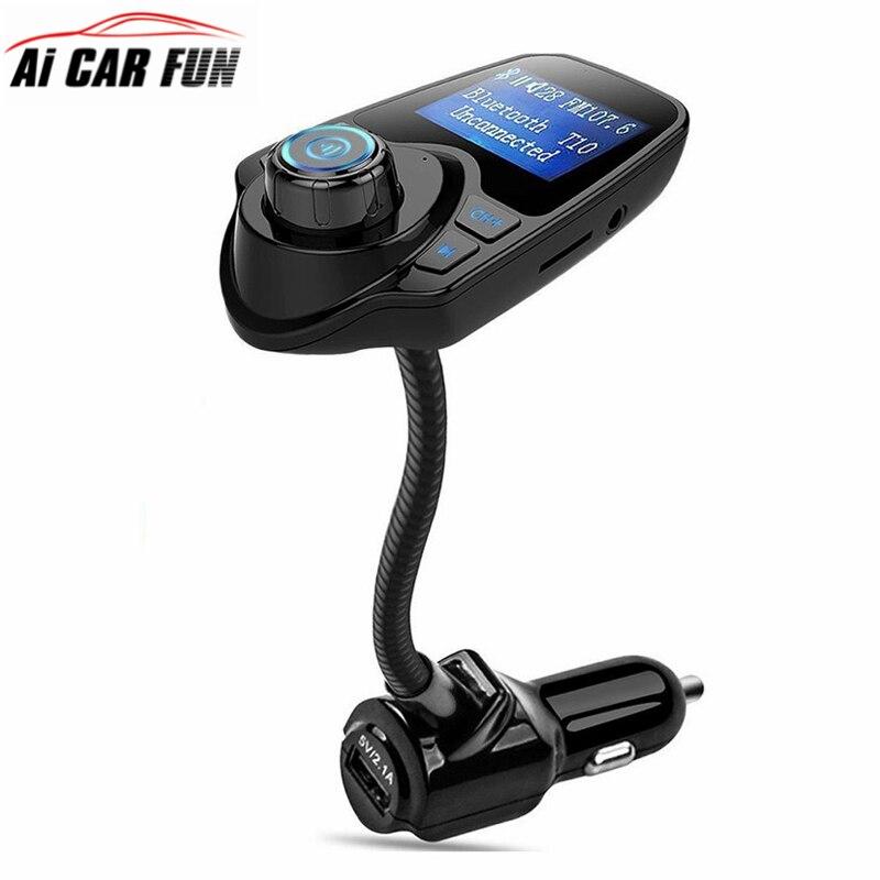 T10 אלחוטי לרכב Bluetooth משדר FM רדיו מתאם - אלקטרוניקה לרכב