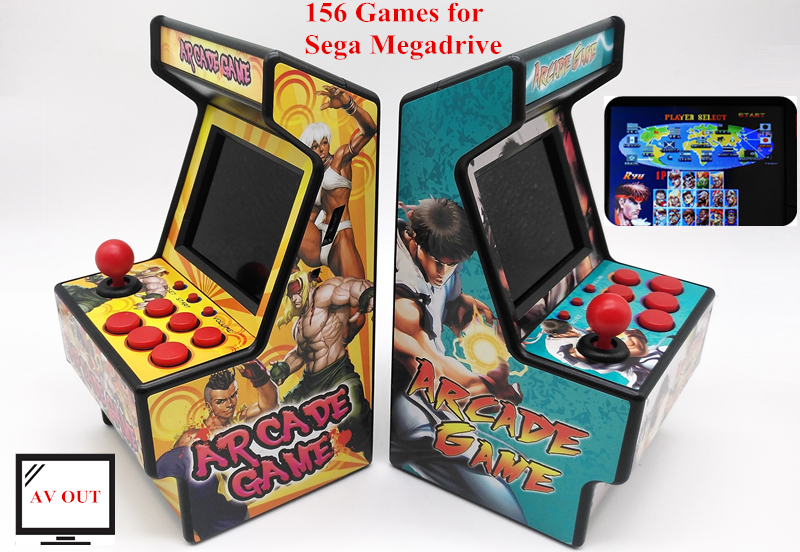 156 Games for Sega Megadrive Retro Mini Arcade Game Console with 2 8 Inch Colorful Display Rechargeable Battery AV output to TV