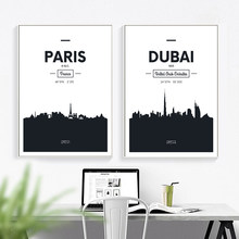 Dubai Rome London Paris Black And White Wall Art Canvas Painting Nordic Posters And Prints Wall Pictures For Living Room Decor(China)