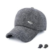 new high quality Warm Winter Baseball Cap Men Brand Snapback Black Solid Bone Baseball Mens Winter Hats Ear Flaps free sipping