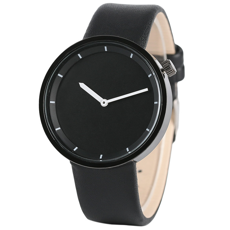 Simple Fashion Men Women Watch Reloj femenino Minimalism Design Round Dial PU Leather Band Pin Buckle Reloj Hombre Best Gift simple fashion hand made wooden design wristwatch 2 colors rectangle dial genuine leather band casual men women watch best gift