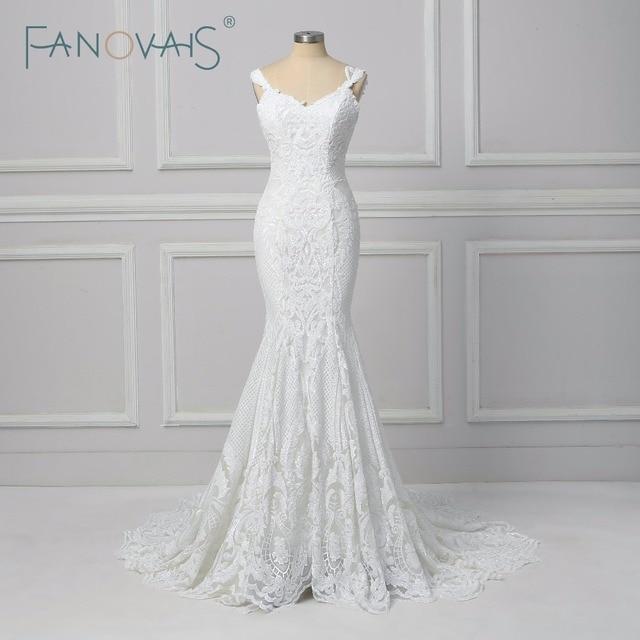 Vintage Lace Mermaid Wedding Dress Vestido de Novia  2019 Backless Wedding Gowns robe de mariee Turkey Bride Gowns