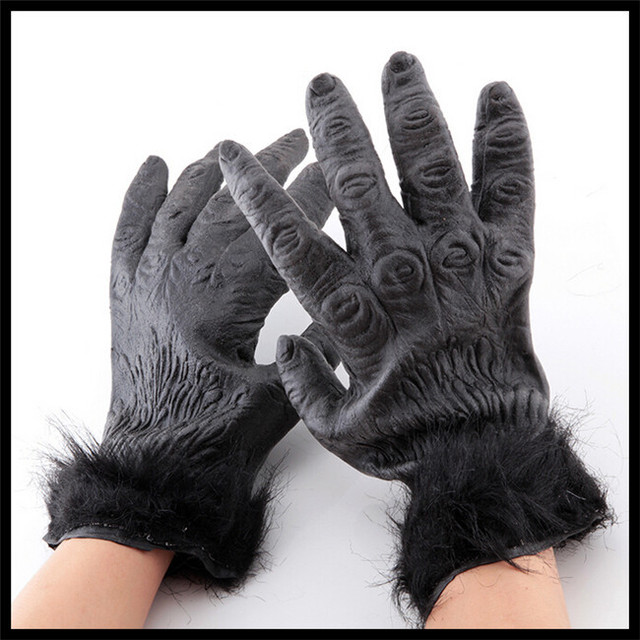 Free Shipping Halloween Party Costume Theater Prop Ghost Demon Monster  Gorilla Latex Gloves Hands Costume Mask