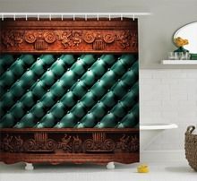 Victorian Wooden Ornament On Leather Couch Bed Headboard Panel Wood Molding Plaque Polyester Bathroom Shower Curtain Set