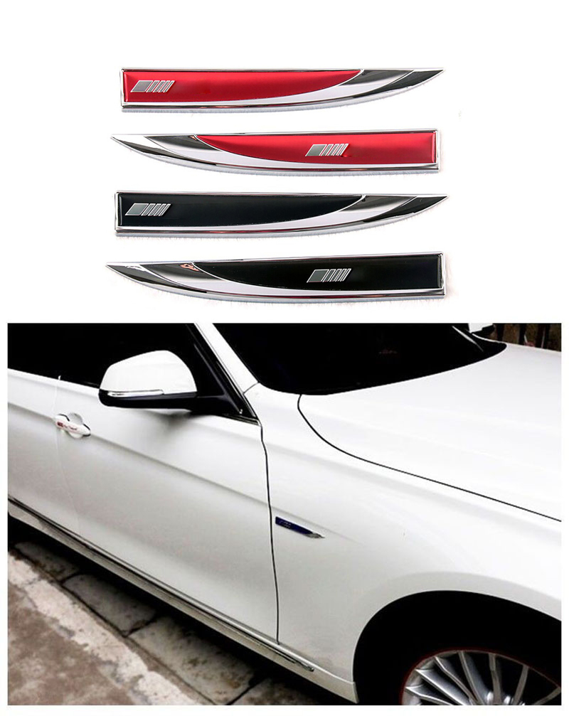 2PCS Decorative Side Wing Metal Blade Fender Stickers AMG Emblem For Benz For Mercedes