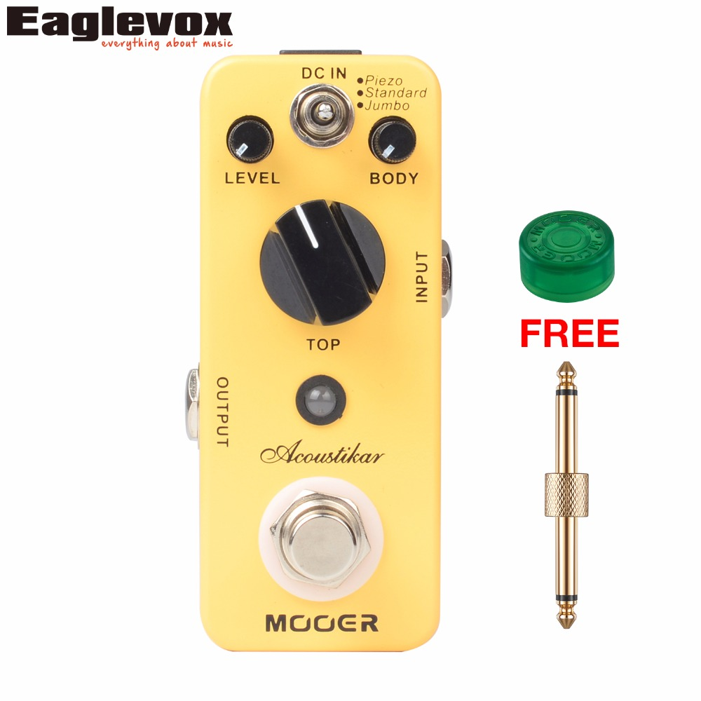 Mooer Acoustikar Guitar Simulator Effect Pedal Mini Electric Guitar Effects Truebypass with Free Connector and Footswitch Topper aroma adr 3 dumbler amp simulator guitar effect pedal mini single pedals with true bypass aluminium alloy guitar accessories