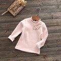 Children Girls Flower Accessories With Scalloped Collar Shirt Cashmere Sweater Sweatshirts