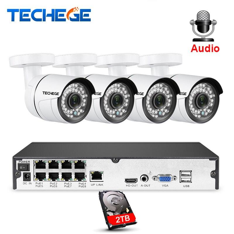 Techege 8CH 1080 P POE NVR kit 2MP 3000TVL Macchina Fotografica del IP di PoE P2P Audio Sistema CCTV IR Esterno Visione Notturna video di Sorveglianza Kit