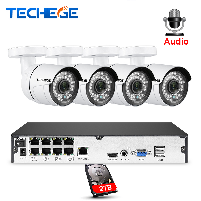 Techege 8CH 1080 P POE kit nvr 2MP 3000TVL PoE IP Caméra P2P Audio système cctv IR Extérieure vision nocturne Vidéo kit de surveillance