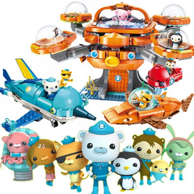 Enlighten The <font><b>Octonauts</b></font> Cartoon Les Octopus Octopod Seabed Boat Model Building <font><b>Blocks</b></font> Figure <font><b>Toys</b></font> For Children Christmas Gift image