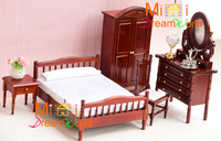 G05 X4412 children baby gift Toy 1:12 Dollhouse mini Furniture Miniature rement wooden bedroom Furniture 5pcs/set