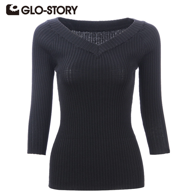 GLO-STORY Women Pullovers 2016 Chic Fashion Sweaters Three Quarter Sleeve Sexy V-neck Women Sweater Lady Tops WMY-1677